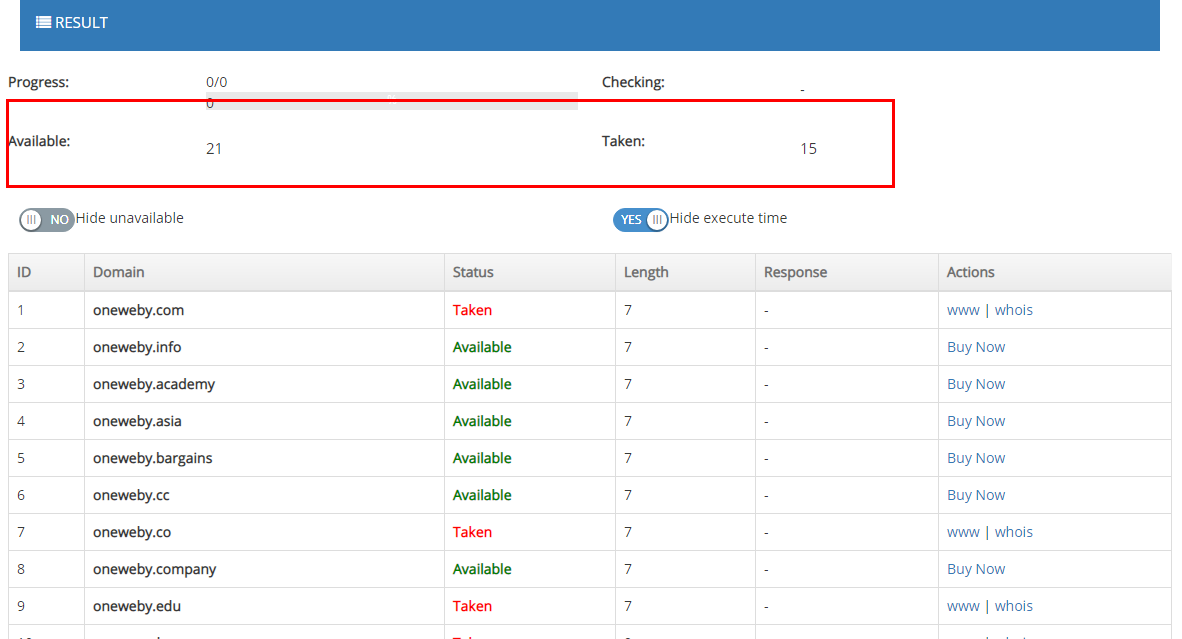 Search Result : Taken and Available Domains