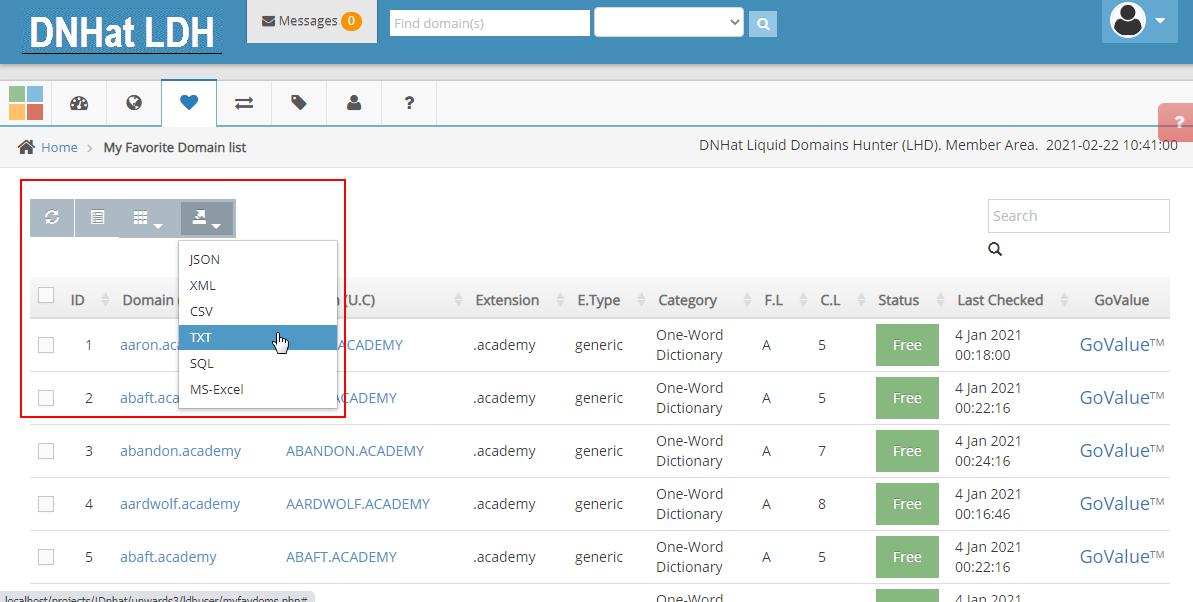 Domain List Export file formats