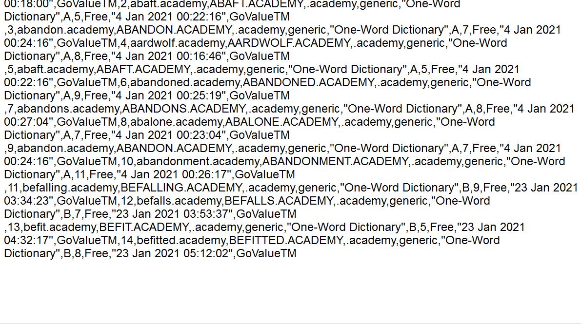 Exported Domain List File : JSON, XML, CSV, TEXT, SQL, MS-EXCEL