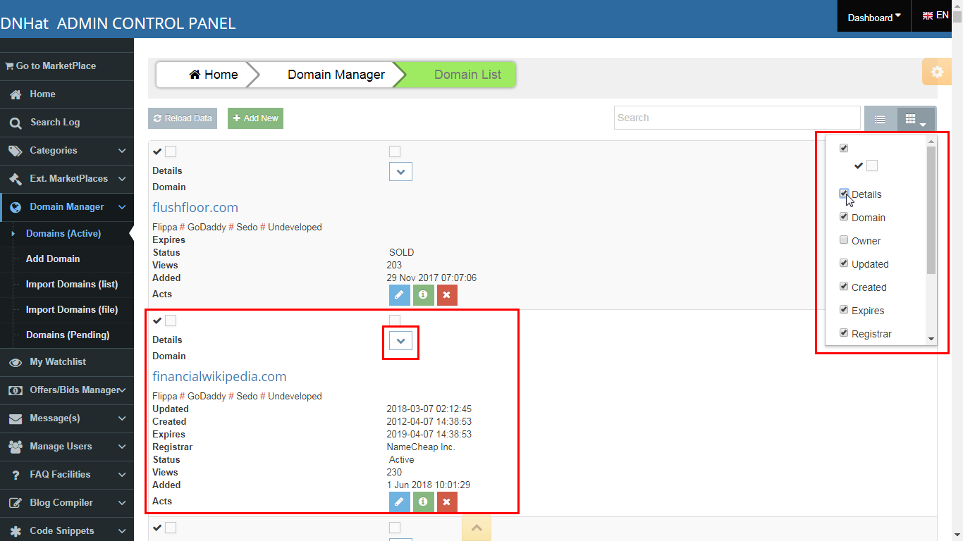 Domain List Manager Tools : content view mode from table to list, show/hide columns