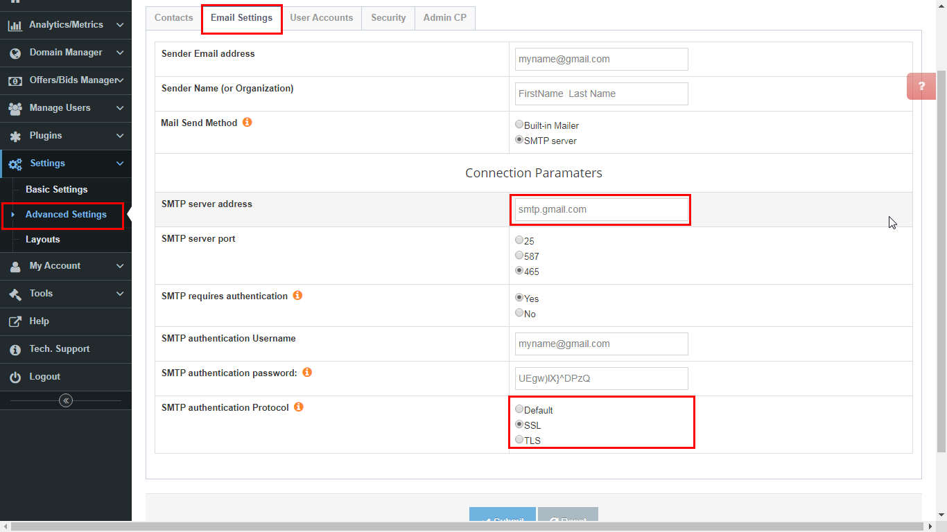 DNHAT Settings, Configuration for Gmail email accounts