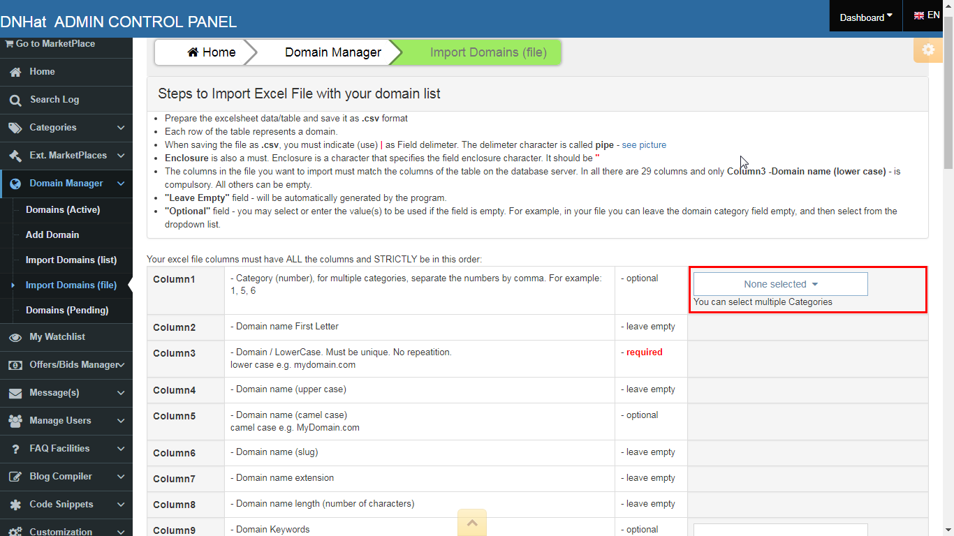 DNHat: Bulk Import Domain Names from File. Image 1 of 3