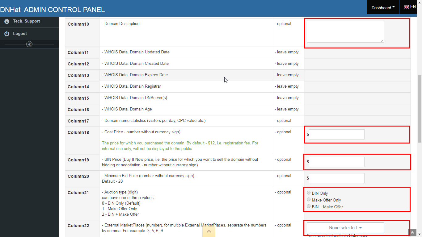 DNHat: Bulk Import Domain Names from File. Image 2 of 3