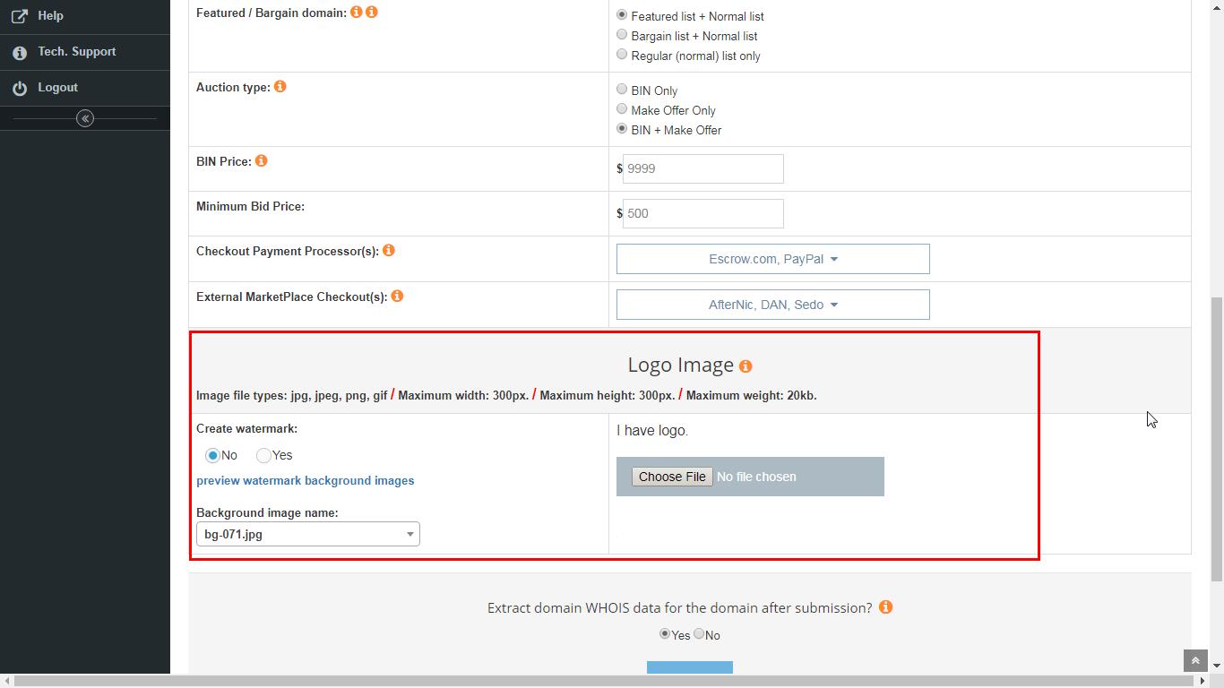Adding one domain to portfolio/marketplace. Image 2 of 2