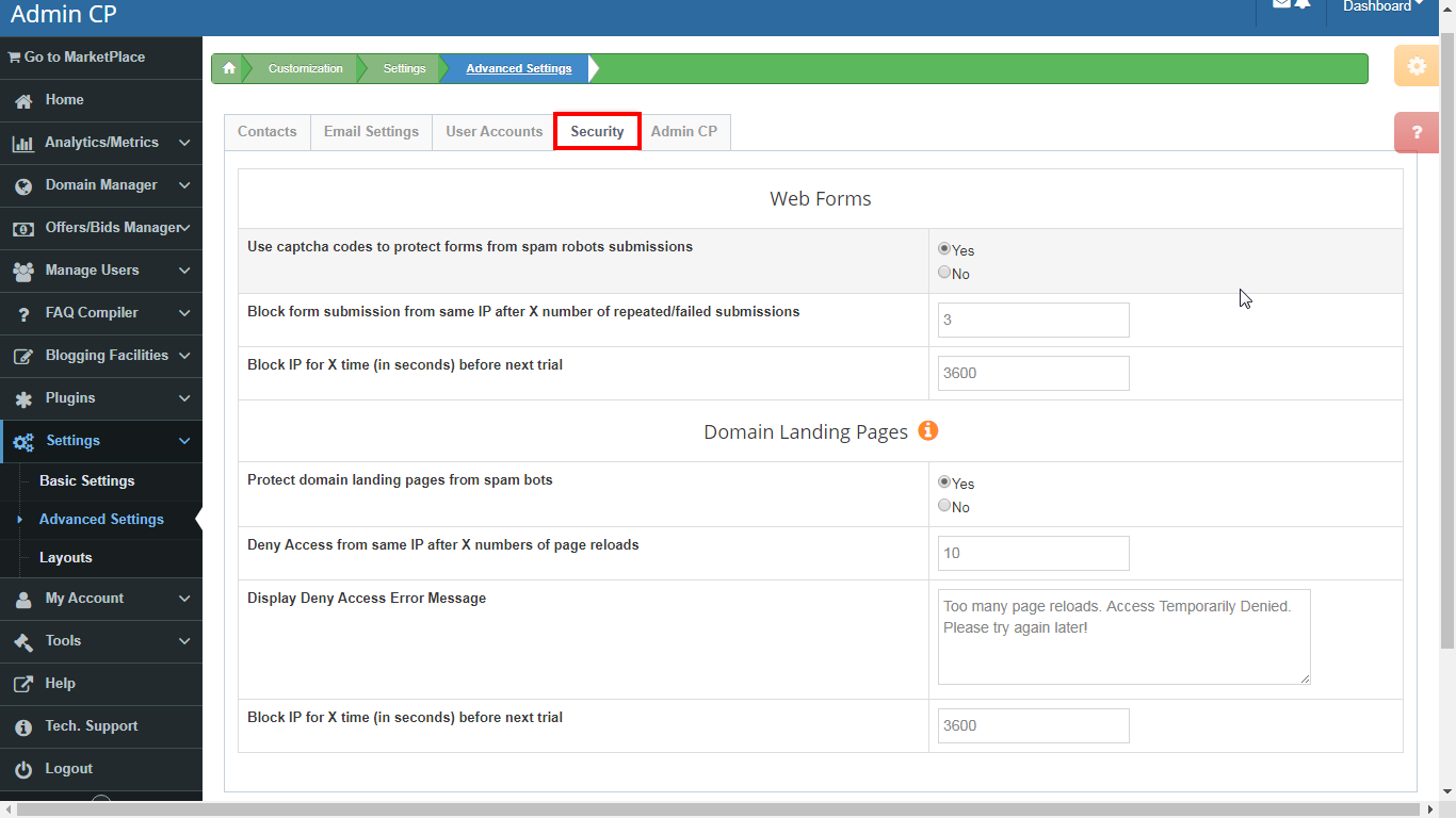 DNHAT Advanced Settings. Forms protection & Security settings