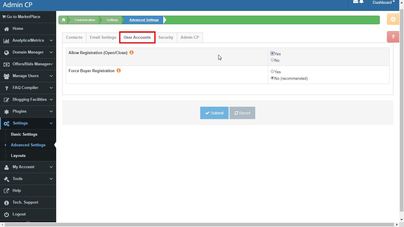 DNHAT Advanced Settings. User accounts settings