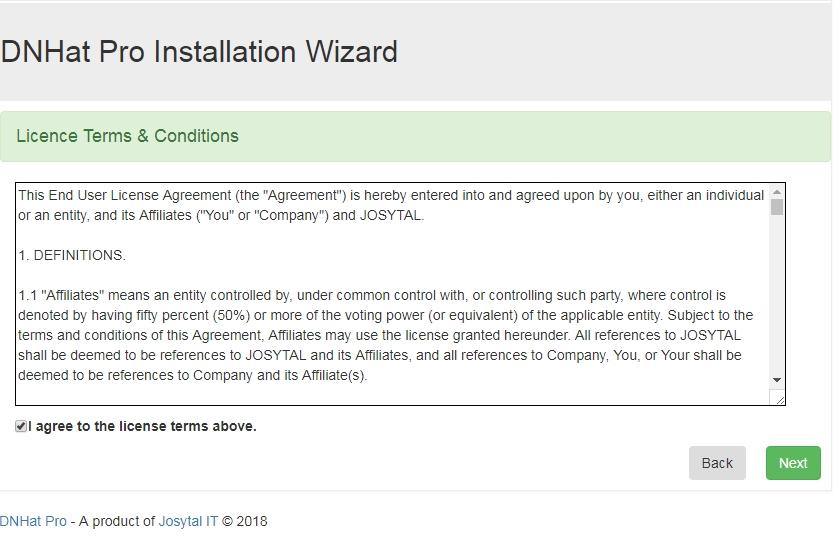 DNHAT Installation wizard - step1