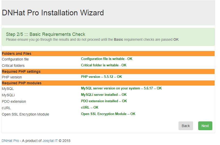 DNHAT Installation wizard - step3