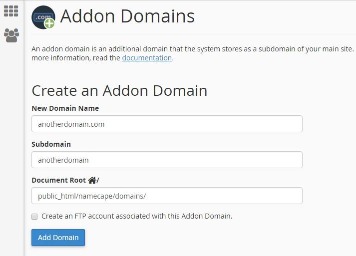 Create Addon Domains