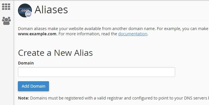 Domain Aliases screenshot
