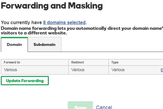 Godaddy example: edit necessary settings for domains to forward