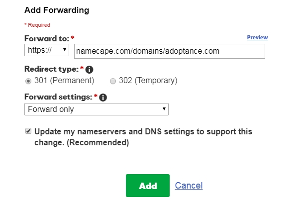 Godaddy example: edit/save settings for domains to forward