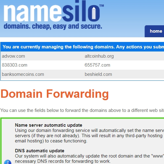 NameSilo example: edit necessary settings for domains to forward