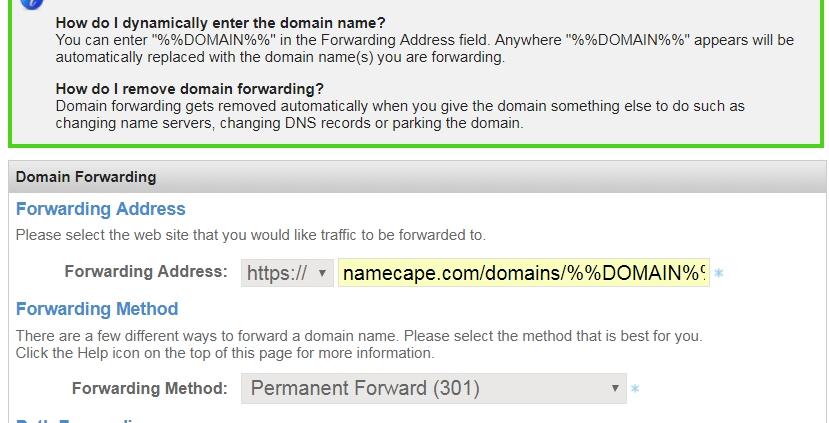 NameSilo example: edit/save settings for domains to forward